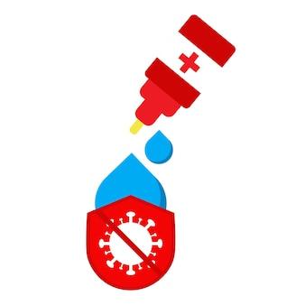 Wereld polio dag icoon. vaccin met virus en schildpictogramontwerp