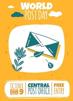 Wereld postdag evenement poster