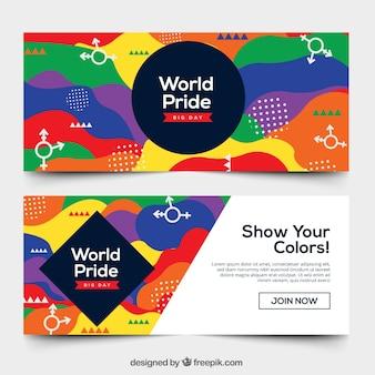 Wereld pride dag banners in memphis stijl