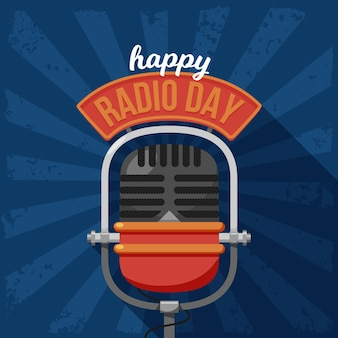 Wereld radio dag achtergrond plat ontwerp met microfoon