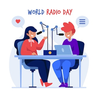 Wereld radio dag achtergrond plat ontwerp met presentatoren