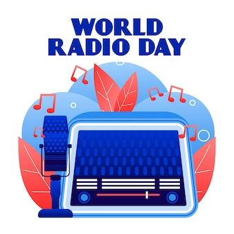 Wereld radio dag achtergrond plat ontwerp