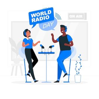 Wereld radio dag concept illustratie