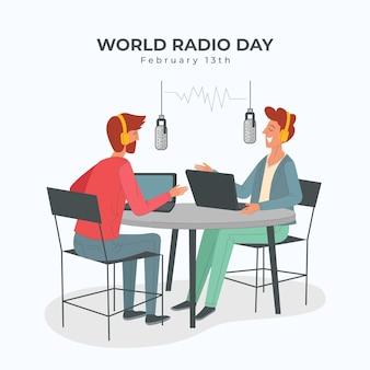 Wereld radio dag hand getekend achtergrond met mensen