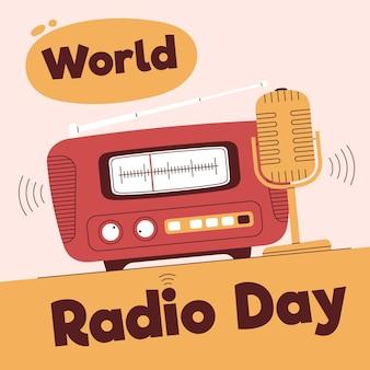 Wereld radio dag hand getekend achtergrond met microfoon