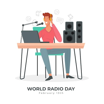 Wereld radio dag hand getekend achtergrond met presentator