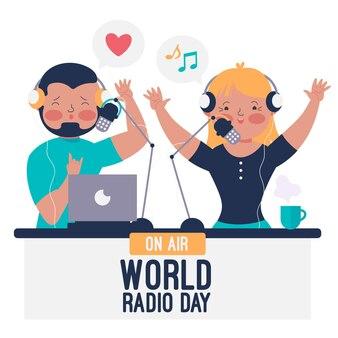 Wereld radio dag hand getekend achtergrond met presentatoren