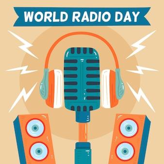 Wereld radio dag hand getrokken achtergrond