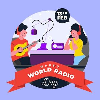 Wereld radio dag persoon gitaar spelen
