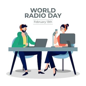 Wereld radio dag platte ontwerp achtergrond met karakters