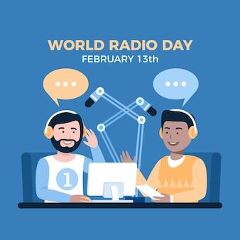 Wereld radio dag platte ontwerp achtergrond met mannen