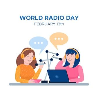 Wereld radio dag platte ontwerp achtergrond met meisjes