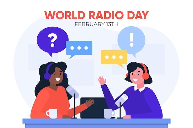 Wereld radio dag platte ontwerp achtergrond met vrouwen
