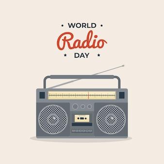 Wereld radio dag retro vintage stijl illustratie