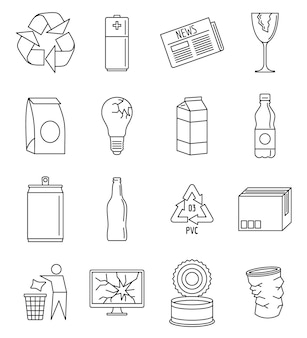 Wereld recyclet dag icon set