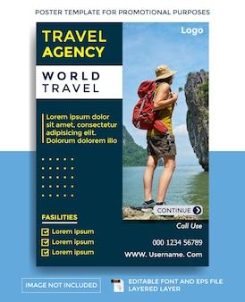 Wereld reisbureau thema poster sjabloon