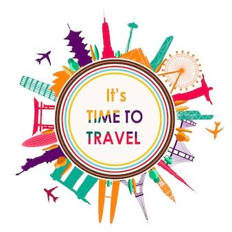 Wereld reizen poster met wereld beroemde bezienswaardigheden platte ontwerp