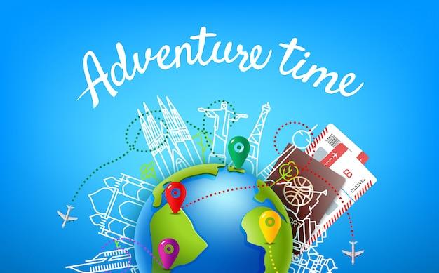 Wereld reizen vector kleur illustratie met kalligrafische logo. tijd voor avontuur