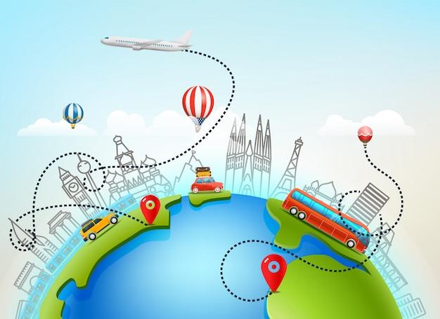 Wereld reizen vectorillustratie kleur