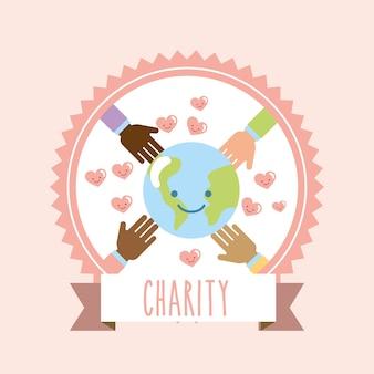 Wereld rond handen harten doneren liefdadigheidslabel