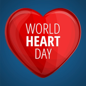Wereld rood hart dag banner, cartoon stijl