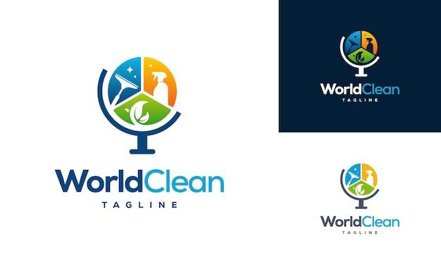 Wereld schoon eco logo sjabloon, wereldwijd schoon logo ontwerpen concept, schoonmaak service logo