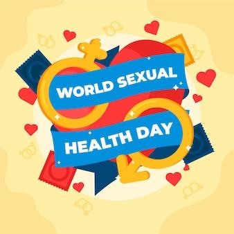 Wereld seksuele gezondheid dag achtergrond met geslachten