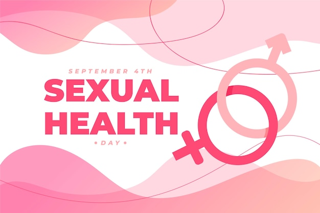 Wereld seksuele gezondheid dag achtergrond met geslachtsborden