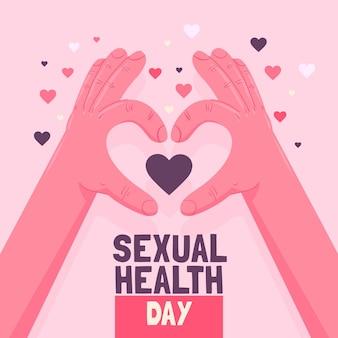 Wereld seksuele gezondheid dag achtergrond met handen
