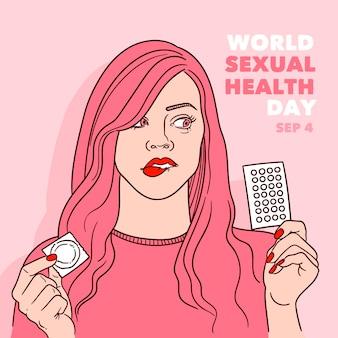 Wereld seksuele gezondheid dag achtergrond met vrouw en anticonceptie