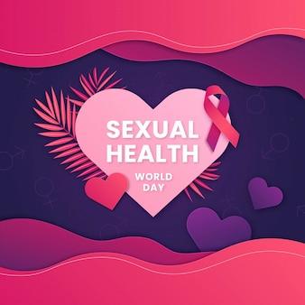Wereld seksuele gezondheid dag illustratie in papierstijl Premium Vector