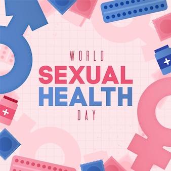 Wereld seksuele gezondheid dag met geslacht tekenen achtergrond