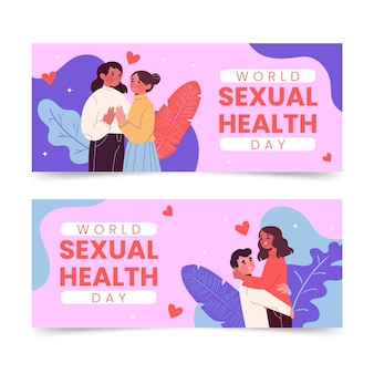 Wereld seksuele gezondheidsdag horizontale banners set