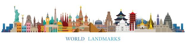 Wereld skyline bezienswaardigheden silhouet in kleurrijke kleur, beroemde plaats en historische gebouwen, reizen en toeristische attractie