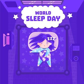 Wereld slaapdag illustratie met meisje slapen