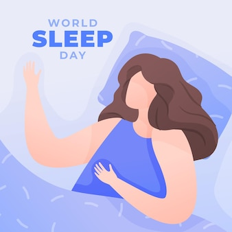 Wereld slaapdag illustratie met vrouw rusten