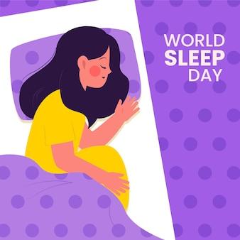 Wereld slaapdag illustratie met vrouw slapen