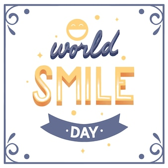 Wereld smile dag belettering cocnept