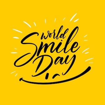 Wereld smile dag belettering met blij gezicht