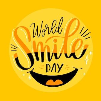 Wereld smile dag belettering met mond