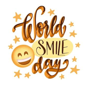 Wereld smile dag belettering met sterren