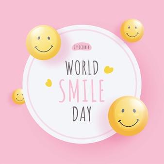 Wereld smile day-tekst met glanzende smiley emoji-gezichten op witte en roze achtergrond.