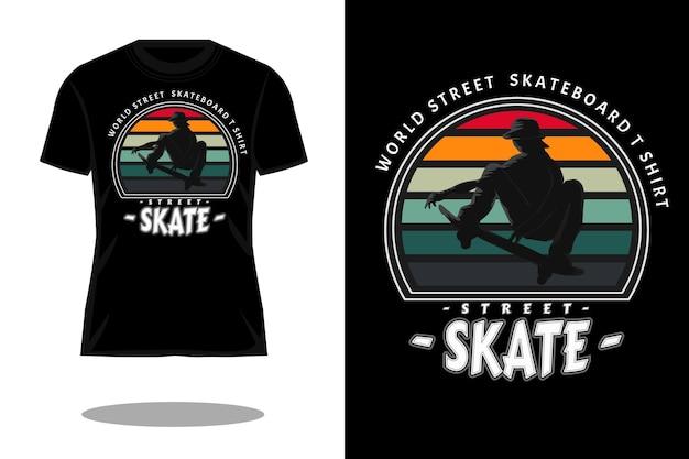 Wereld straat skateboard silhouet vintage t-shirt ontwerp