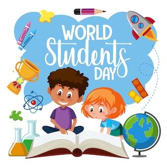 Wereld student dag pictogram
