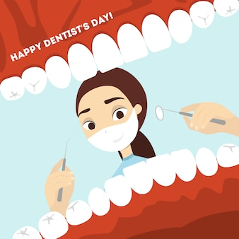 Wereld tandarts dag. vrouw arts die de mond met tanden onderzoekt.