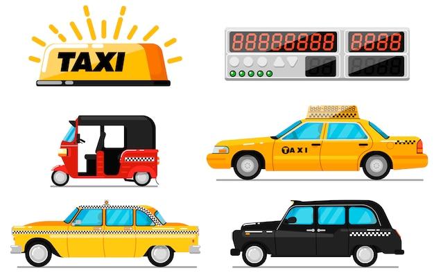 Wereld taxi auto en voertuig geïsoleerde set