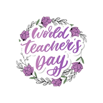 Wereld teacher's day belettering kalligrafieborstel