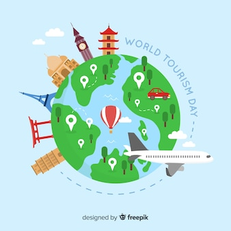 Wereld toerisme dag achtergrond met bezienswaardigheden en transport