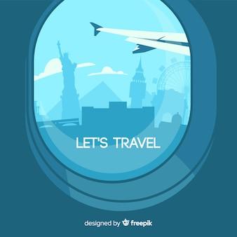 Wereld toerisme dag achtergrond met uitzicht vanuit het vliegtuig