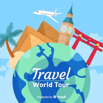Wereld toerisme dag achtergrond op wereldbol